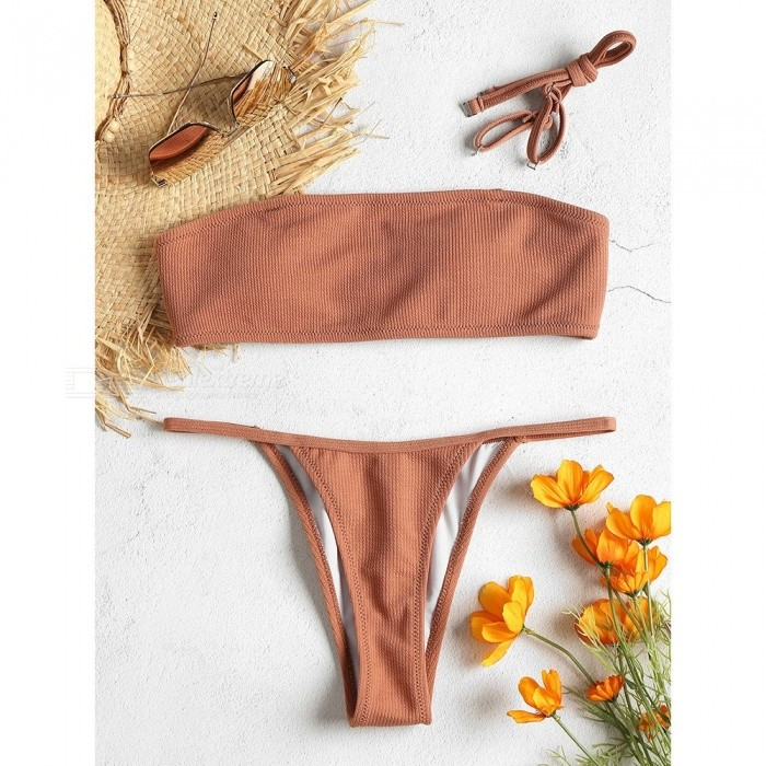Swimwear Female Two Pieces Swimsuit Solid Color Sexy Low Waist Women Tube Top Bathing Suit Bikinis Set Sand Color/S