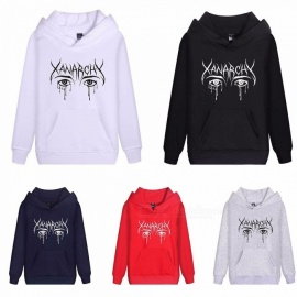 Autumn Winter Hooded Hoodies Long Sleeve Loose Lil Xan Xanarchy Print Sweatshirts For Men Women Black/M