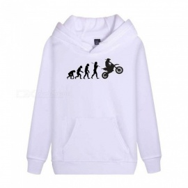 Autumn Winter Hooded Hoodies Long Sleeve Loose Creative Human Evolution Print Sweatshirts Black/M