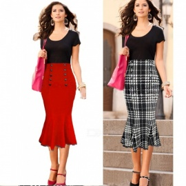 Europe And America Office Lady Style Skirts Button High Waist Slim Mermaid Skirt For Women Red/XXL