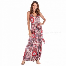 Summer Dress Sunflower Print Sleeveless V-Neck Sashes Maxi Dresses For Women Multi/XXL