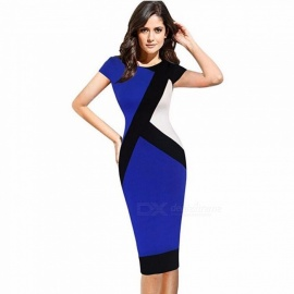 Summer Dress O-Neck Short Sleeve Blue Patchwork Office Lady Pencil Dresses For Women Blue/S