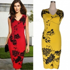 Europe Fashion Sleeveless Dress V-Neck Office Lady Floral Print Dresses For Women Yellow/XXL