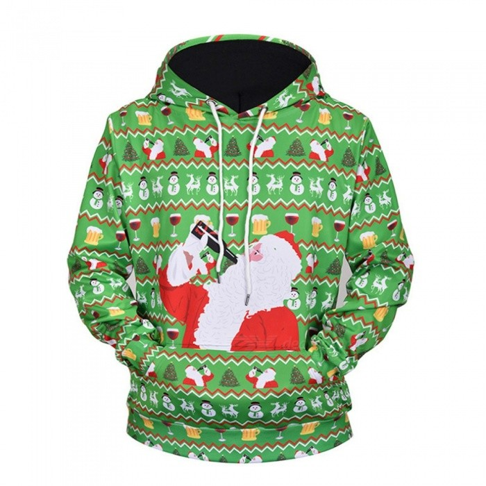 Christmas Autumn Winter Casual Hooded Hoodies 3D Print Santa Claus Loose Sweatshirts For Men L61001# Green/M