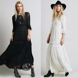 Bohemian Maxi Dress Embroidery Three Quarter Flare Sleeve High Waist O-Neck Engagement Party Dresses For Women Black/S