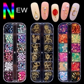 Mixed Jewelry Rhinestones For Manicure Glitter Stickers Beads Charm Alloy Rivet Diamond Gems DIY Nail Art Decoration White