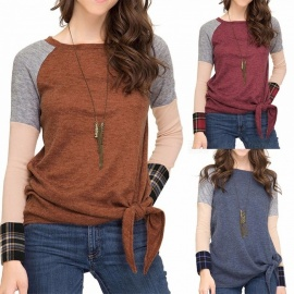 Autumn Winter New T Shirt O-Neck Long Sleeve Plaid Patchwork Hem Knot Shirts For Women Navy Blue/S
