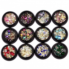 Mixed Style 3D Nail Art Decorations Rhinestone Glitter Nails Jewelry Accessories Gem 12 Colors Available White