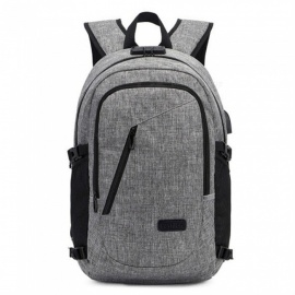ESAMACT New Fashion Teenagers School Backpack, Men Oxford USB Charging Earphone Backpacks School Backpack, Waterproof Book Bag