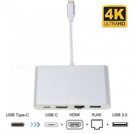 USB C to HDMI 4K+Gigabit Ethernet RJ45 Port + USB 3.1 Type C Adapter