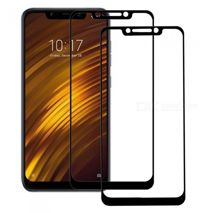 2Pcs 9H 0.26mm 5D Full Cover Tempered Glass Screen Protector for Xiaomi Pocophone F1