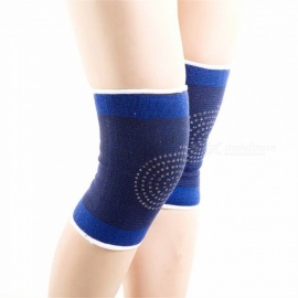 1 Pair Elastic Ribbed Self-heating Sports Knee Sleeves, Breathable Magnetic Therapy Knee Compression Pad Blue