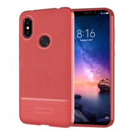 Naxtop Soft TPU Lychee Pattern Slim Light Phone Case, Shock Resistant Non-Slip Anti-Scratch Case for Xiaomi Redmi Note 6 Pro