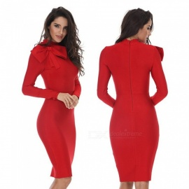 Round Neck Long-sleeved Pencil Dress With Bow, Womens Slim Fit Mandarin Collar One-piece Dress Red/XXL