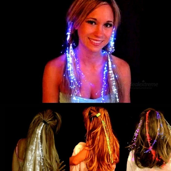 5Pcs/Lot LED Flash Light Up Emitting Hair Pigtail Braid Plait, Fiber Optic Luminous Hair Wig For KTV Party Prom Show Green
