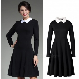 Autumn Elegant Lapel Collar Long Sleeve Knee-Length A-Line Dress For Women Lady Black/XXL