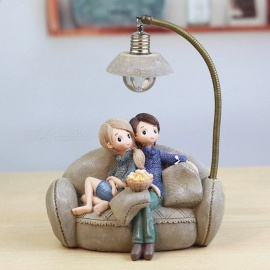 Mini Couple Resin Handicraft Decoration For Home And Bedroom, Cartoon Figures Home Decor Accessory With Nightlight Dark Khaki/M