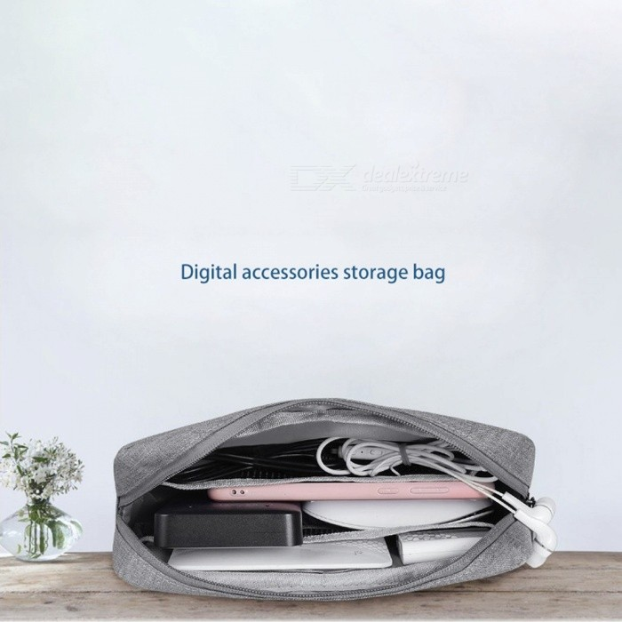 Durable Waterproof Oxford Travel Cable Organizer Bag, Portable Large Capacity Storage Bag For Digital Device Black