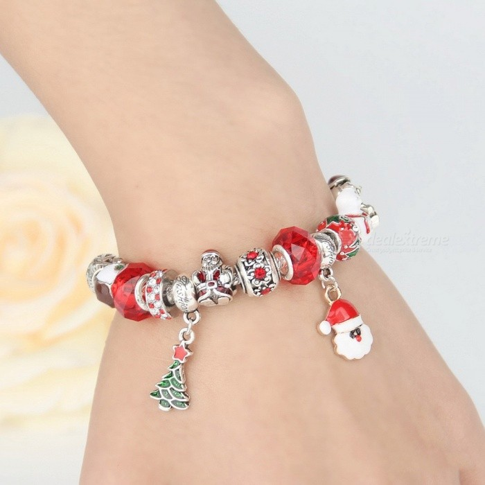 Womens Christmas Beaded Bracelet With Santa Claus And Christmas Tree Pendants, Contrasting Santa Claus Chain Bracelet Red/17cm