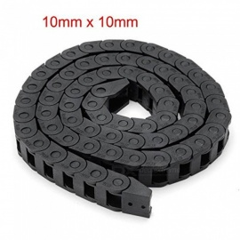 ZHAOYAO 10mm x 10mm Black Plastic Cable Wire Carrier Drag Chain 1M Length for CNC