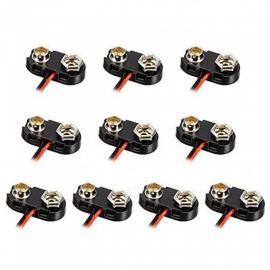 ZHAOYAO 10pcs DC 9V Battery Clip T-type Buckle Connector Plastic Shell Lead Wire 15cm Long