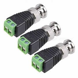 ZHAOYAO l BNC Male to CAT5 Coaxial Connectors, Screw-lock Terminals (3 PCS)
