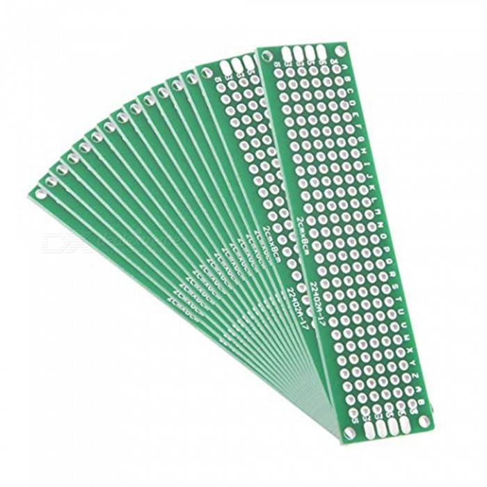 ZHAOYAO 2x8cm Double Sided Universal Printed Circuit Board for DIY Soldering (15 PCS)