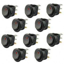 ZHAOYAO 10pcs Car Truck Round Rocker Toggle Switch LED Light On-Off Control