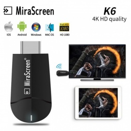 K6 Wireless Miracast Wi-Fi Display Dongle Receiver TV Stick, 4K HD Airplay Multi TV Tuner for iOS Android Mac