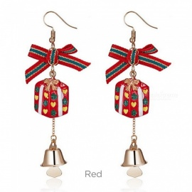 A Pair Womens Christmas Cartoon Metallic Dangle Earrings, Christmas Snowflake/Bell Earrings For Women White