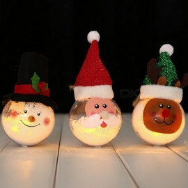 Luminous Santa Claus/Elk/Snowman Christmas Decoration Ball, Cartoon Ornament For Christmas Red