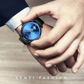 SKMEI Fashion Minimalism Men\'s Watch Waterproof Resin Strap Business Quartz Wristwatches Gold