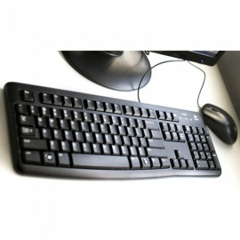Logitech MK120 Portable Universal Wired Keyboard And Mouse Set For Home Office Computer Black