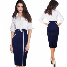 High Waist Tight Slim Straight Skirt, Large Size Button Decoration Formal Skirt For Lady Women Blue/XXXL