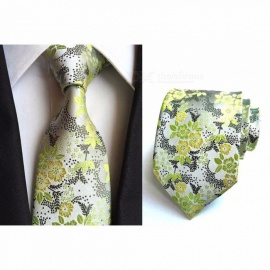 8cm Polyester Jacquard Ties For Men, Fashion Flower Print Pattern Necktie For Wedding Or Business Suits Green