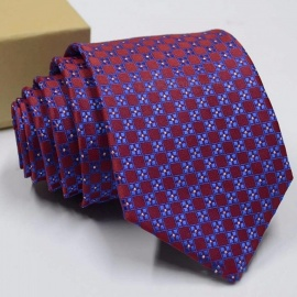 Polyester Jacquard Tie For Men, Fashion Print Pattern Necktie For Wedding Or Business Suits Red