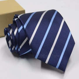 Polyester Jacquard Ties For Men, Fashion Striped Print Pattern Necktie For Wedding Or Business Suits Blue
