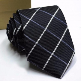 8CM High-End Polyester Ties For Men, Fashion Striped Print Pattern Necktie For Hotel / Bank / Business Suits Black