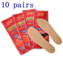 10 Pairs / Bag Warm Feet Warm Paste Body Warmer Stick Lasting Heated Insole Patch Keep Hand Foot Warm Paste Pads Red