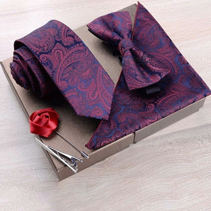 3-Piece Personalized Embroidery Pattern Neck Tie Set With Bow-Tie And Pocket Square For Men Business Suits Black