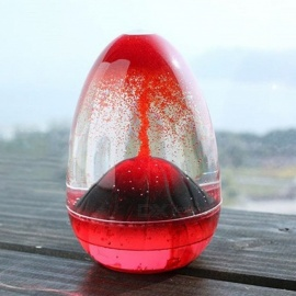 Movement Liquid Hourglass, Creative Volcano Oil Sandglass, Home Decor Craft Glass Ornament Sand Timer Christmas Gift Red/M