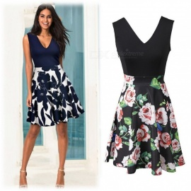 Summer Dress V-Neck High Waist Floral Print Patchwork Sleeveless A-Line Dresses For Women Blue/S