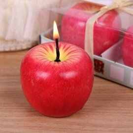Red Apple Shape Artificial Fruit Scented Candle, Wedding Gift Home Decoration Valentine\'s Day Christmas Candle Lamp L/Red