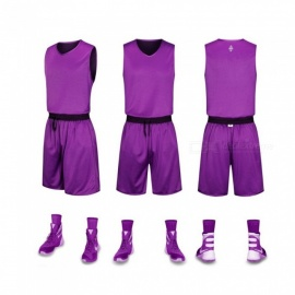 Basketball Sports Jerseys Shorts Set Double-side Wearing Quick-dry Breathable Competition Uniforms Training Suit Purple/XXXL
