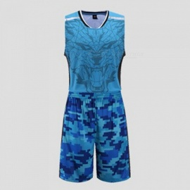 Summer Basketball Camouflage Print Sports Jerseys Shorts Set Quick Dry Training Suit Sleeveless Vest Breathable Clothing Blue/XL