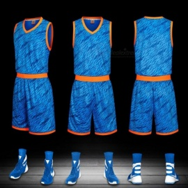 Summer Basketball Sports Jerseys Shorts Set Training Suit Sleeveless Vest Breathable Clothing Blue/L