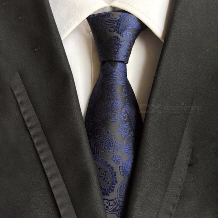 Polyester Jacquard Ties For Men, Fashion Print Necktie For Business Or Wedding Suits Black