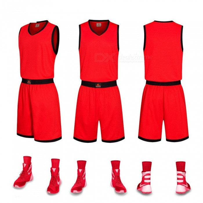 New Basketball Sports Jerseys Shorts Set Breathable Quick Dry Custom Uniform Clothing Training Suit Red/L