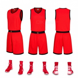 New-Basketball-Sports-Jerseys-Shorts-Set-Breathable-Quick-Dry-Custom-Uniform-Clothing-Training-Suit-RedL