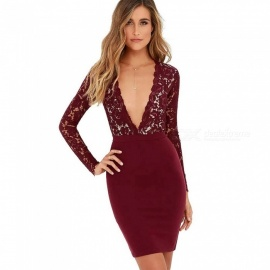 Europe And America Summer Dress Deep V-Neck Long Sleeve Lace Patchwork Sexy Club Dresses For Women Burgundy/S